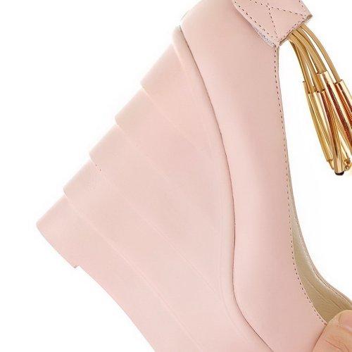 Balamasa con chiusura velcro e gancio, da donna, con tacco alto, con pompa Pink