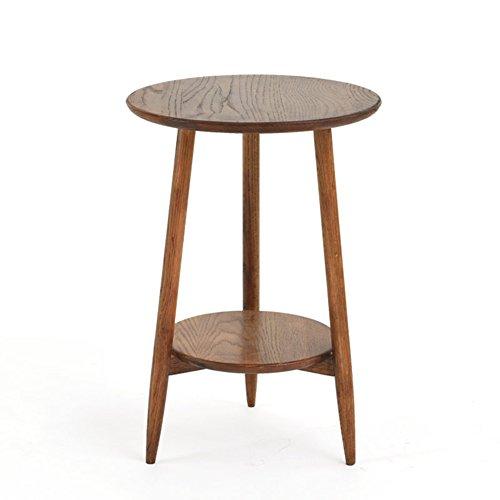 Full Love House® Table d'appoint Table basse Bois massif Chêne blanc Simple rond Double étage Mini Gravure Peinture aérosol Retro Style nordique 42 * 60cm (Couleur : #2)