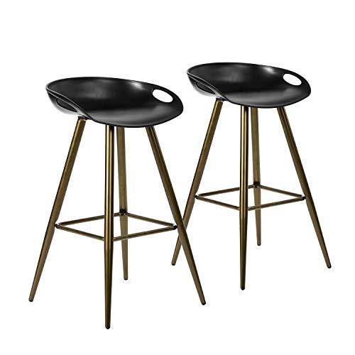 SET of 2 - Zeitgenössischer Barhocker mit fester Höhe aus weißem Acryl Sitz aus PP mit Metallrohr aus braunem Rohr - Weiße Acryl-barhocker
