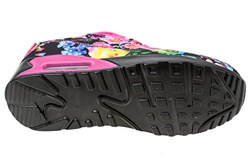 GIBRA® Femme Sneakers, Noir/Rose/multicolore à fleurs, Taille 36–41 Multicolore - schwarz/pink/bunt