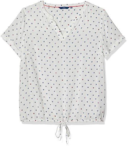 TOM TAILOR Damen Lovely Print blousetop Bluse, Elfenbein (Whisper White 8210), 42