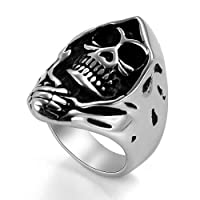 JewelryWe Retro Stainless Steel Biker Mens Gothic Skull Ring Engagement Wedding Band, Black Silver - Size Z+1