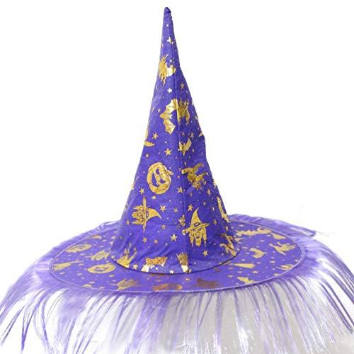 Mitlfuny Halloween Cap Hexe Hut, Adult Womens Mens Flaum Feste Kappe Hexe Hut Halloween Hexen KostüM (Lila)