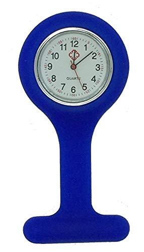 Boolavard TM Orologio da infermiere in silicone con spilla - orologio tascabile BLU