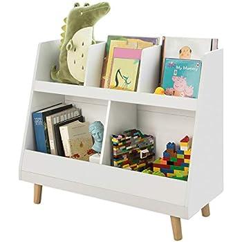 SoBuy KMB02-W Biblioth/èque /Étag/ère /à Livres Porte-Revues Coffre de Rangement /Étag/ère de Rangement Jouets pour Enfants 4 Compartiments Ouverts