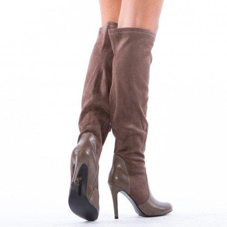 Ideal Shoes - Cuissardes bi-matière Louisine Taupe