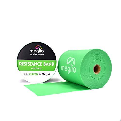 meglio latexfreies Widerstandsband 46 Meter Rolle - Übungsband - 5 Widerstandsniveaus verfügbar - extra-leicht, leicht, medium, schwer, und extra-schwer