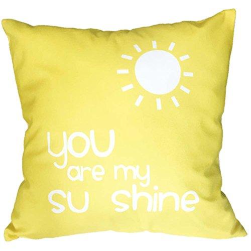 Feder Seide Dekorativen Kissen (*Vovotrade* Sie sind mein Shine Print Leaning Kissen Throw Pillow Covers Pillowslip Case (Gelb))