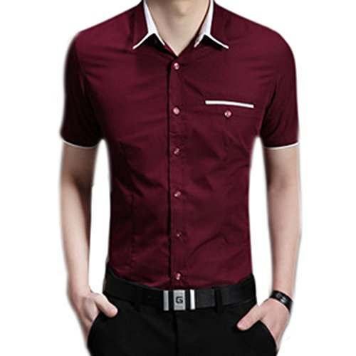 Honghu Herren Business Slim Fit Button-down Kurzarm Hemd Rot