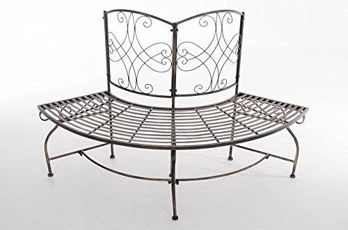Gartenbank in nostalgischem Design Eckbank aus lackiertem Eisen Bronze halbrunde Baumbank - 2