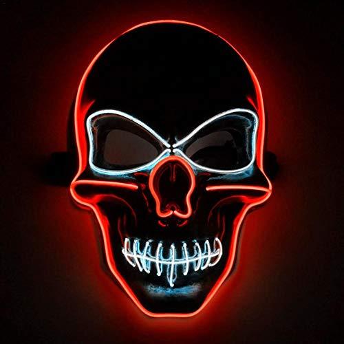 RecoverLOVE Halloween Scary Mask Männer leuchten Schädel Maske Persönlichkeit LED erschreckende Death Street Dance Maske Cosplay Kostüm für Festival Parteien & Karneval Nacht (Schädel-maske Scary Halloween)