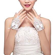 Guantes de novia de encaje bowtie hermosa mujer para el vestido de conducción de la boda