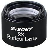 "SVBONY Lente de Barlow Acromática,Ocular Plossl con Gran Amplicación 2X, de 31,7mm(1,25"") Lente óptica para Telescopio Universal"