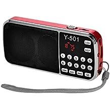 eJiasu Puerto de disco Soporte de MP3 de música tarjeta del TF portátil USB Mini Digital FM Radio / USB / Pantalla Pantalla LED / linterna / la batería recargable / Salida de auriculares / cordón para PC iPod iPhone y otros teléfonos Android (rojo)