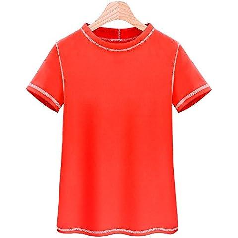 Unisex corta Rash Guard protección solar playa camiseta Surf de natación bañadores de camiseta de compresión para Niños, naranja