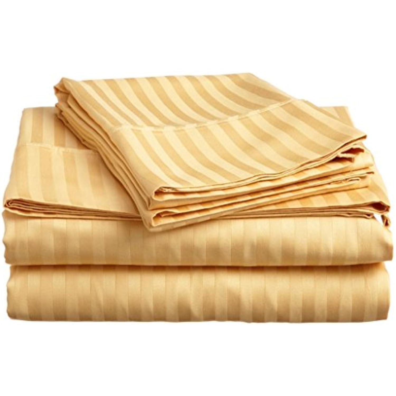 laxlinens 500 fils en coton égyptien 4 pièces pour lit Extra (+ 53,3 cm) Extra lit profonde poche Euro pour petit lit, motif à rayures or 36cf97