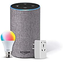 Amazon Echo (Grey) Bundle with Oakter 16A smart plug & Wipro 9W smart bulb
