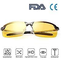 Gafas Nocturna | Gafas de sol - Para la pesca / Conducción nocturna / Reducción de riesgos | Antideslumbrantes / Protección UV400 de Ojos / HD Vision nocturna / Marco de metal / Ultra Light / Unisexo