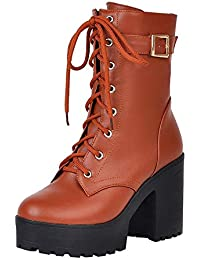 SamMoSon Thick Heel Ankle Boots High Heel Martin Boots Thick Bottom Lace-Up Women's Boots