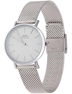 Leslii Premium Watch Edelstahl Meshband Silber   moderne Damen-Uhr   elegant modern zeitlos