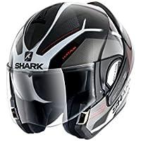 Shark EVOline de tiburón 3hataum KWR cascos de motocicleta, color negro/blanco/rojo, tamaño XL
