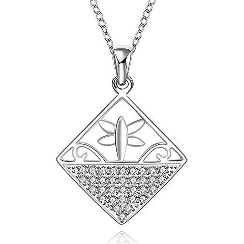 YKQJING 925 collana pendente in argento piazza intarsiati zircone