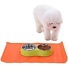 Cute Pet Feeding Mat alfombrilla de silicona de grado de alimentos impermeable antideslizante Pet Bowl Pet Feeding bandeja para perros y gatos