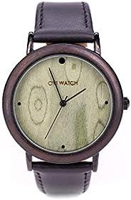 Ovi Watch, Verde Orologi Di Legno Con Cinturino In Nero in Vera Pelle