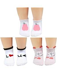 KF bebé niñas calcetines de algodón antideslizante Value Pack, 3pares, lactantes para niños pequeños