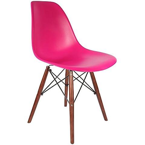 Promo–Set di 2x sedia design DSW piedi legno verniciato noce seduta PP–MOBISTYL® mobi-dswd viola