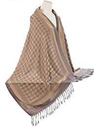 ab7f8bea88b1 World of Shawls PIED-DE-POULE aztèque pashmina imprimé touché châle écharpe  ...