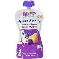 Hipp Biologique Gourdes Pommes Poires Raisins Myrtilles Dès 12 Mois 6 x 120 ml - Lot de 4