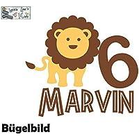 Bügelbild Geburtstag Aufbügler Löwe Lion mit Zahl und Namen in Flex, Glitzer, Flock, Effekt in Wunschgröße