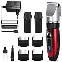GHB Cortapelos Electrónico Maquinilla Cortar Pelo Ajustable con 4 Peines Color Rojo Adecuado para Barba y