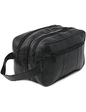 RAS Herren Echtes Leder Reisetasche Nachttasche Gummi-Tasche Toilettenpapier (Schwarz) - 3520