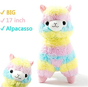 "Alpacasso 17"" Rainbow Plush Alpaca,"