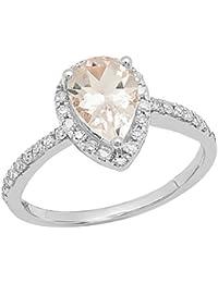 fba5faed1bf 10 K Or blanc 9 x 6 mm en forme de poire Pierre précieuse et diamant rond  Blanc pour femme Halo Bague de…