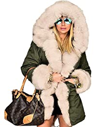 Aofur New Women Ladies Hood Parka Jacket Quilted Black Winter Coats Fishtail Size 8-20