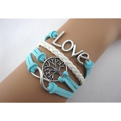 Infinito joyería del encanto pulsera de cuero de las mujeres de moda de la cadena cuerda del colgante pulsera brazalete (15)