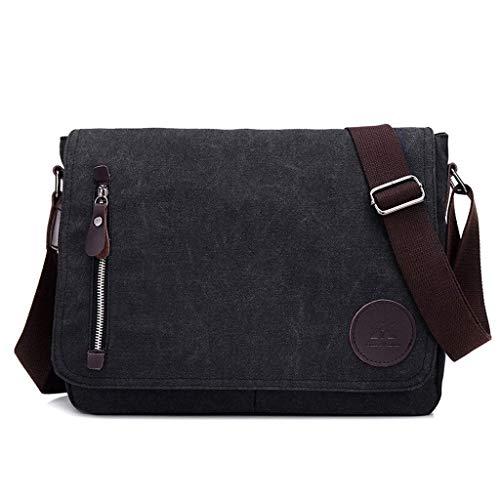 Laptoptasche 9,7 Zoll Herren Vintage Lässige Mode Leinwand Messenger Bags Aktentasche Crossbody Einzelner Schulterbeutel Ipad Tasche Schultasche Schultasche (Farbe: Schwarz) -