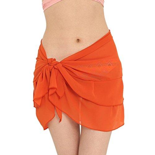 Dragon868 Strandkleid Sommer Rock Frauen Chiffon Sonnencreme Schal Strand Bikini Bademode Wrap Coverup Rock Badeanzug (Orange)