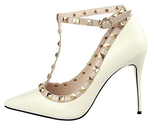 Guoar Stiletto Heel Punk Damenchuhe Große Größe T-Spange Ankle Strap Spitze Zehen Glitzernd Pumps mit Nietendecoration Weiß