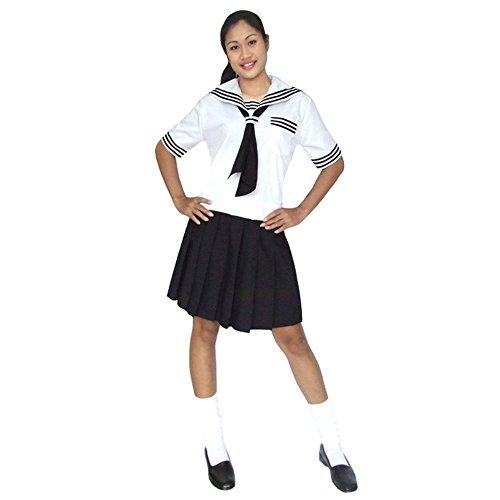 Japanisches Cosplay Schulmädchen Kostüm Schuluniform Baumwolle Schwarz & Weiß (Moon Kostüm Sailor Amazon)