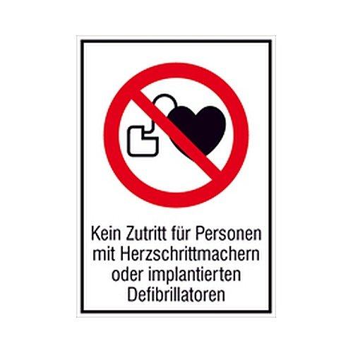 Aufkleber Kein Zutritt für Personen mit Herzschrittmachern oder implantierten Defibrillatoren Kombizeichen / Verbot Größe: 13,1 x 18,5cm Folie