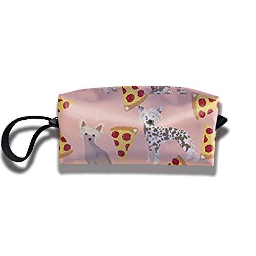 TRFashion Toiletry Bag Chinese Crested Dog PizzaStorage Bag Beauty Case Wallet Cosmetic Bags Aufbewahrungstasche Kosmetiktasche -