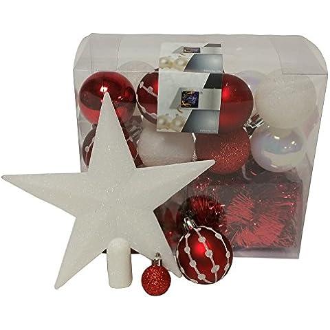 Lote decoración de Navidad - Kit 44 piezas para la decoración del árbol: Guirnaldas, Bolas y Estrella - Color: Blanco y
