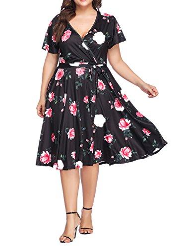 SELUXU Women's Plus Size Dresses Casual Midi Deep V Cross Short Sleeve Fashion Floral Summer Dress XL-5XL