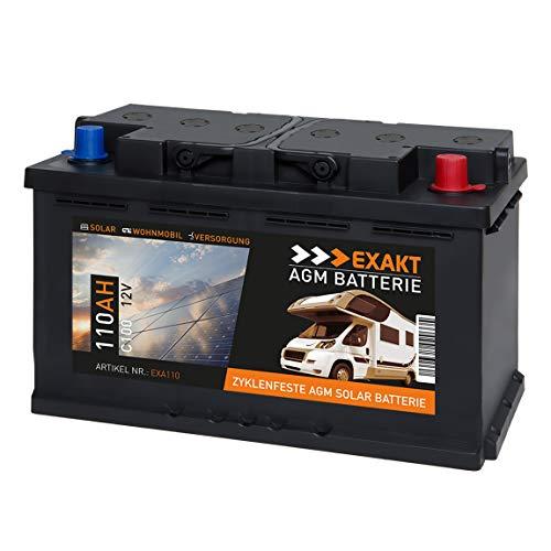 EXAKT AGM Solar Batterie Photovoltaik Wohnmobil Boot Camping Versorgungsbatterie (110Ah 12V) - Akku Versorgung 12v