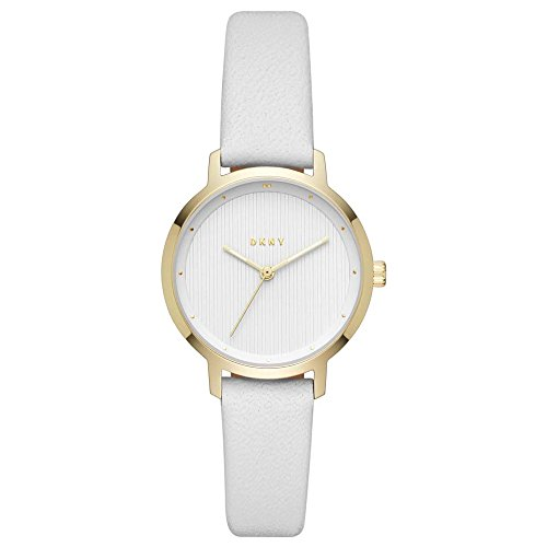 DKNY Damen-Armbanduhr 32mm Armband Leder Weiß Gehäuse Edelstahl Quarz NY2677