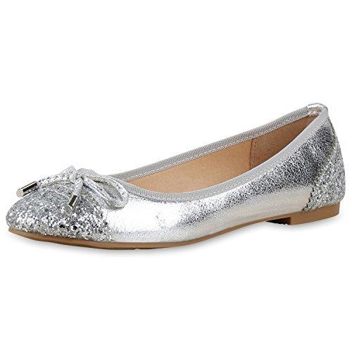 napoli-fashion - Ballerine Donna, argento (Silber Silber Schleife), 39